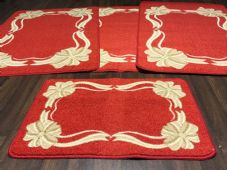 ROMANY WASHABLES NEW FOR 2018 BOWS N RIBBONS DESIGN 4PC SETS RED NON SLIP MATS